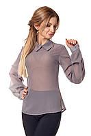 Женская шифоновая блузка №412 (серый)