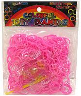 Резинки для плетения Rainbow Loom Bands 300шт. однотонные Розовые 1908/A-s109 +крючок