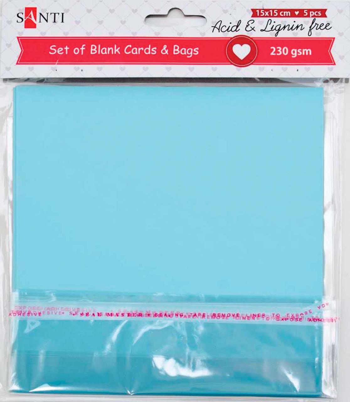 Набор заготовок для открыток 15*15 Santi 230г/м 5шт голубые 952280