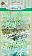 Набор украшений для открыток и скрапбукинга Santi 6 видов Зеленый 951975