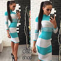 Вязанное платье с шерстью полосатое tez27032627