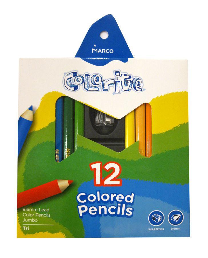 Карандаши цветные толстые 12цв. MARCO JUMBO Colorite с точилкой 1450-12CB
