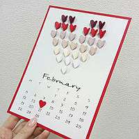 """Валентинка """"Сердечки с календарем"""", фото 1"""