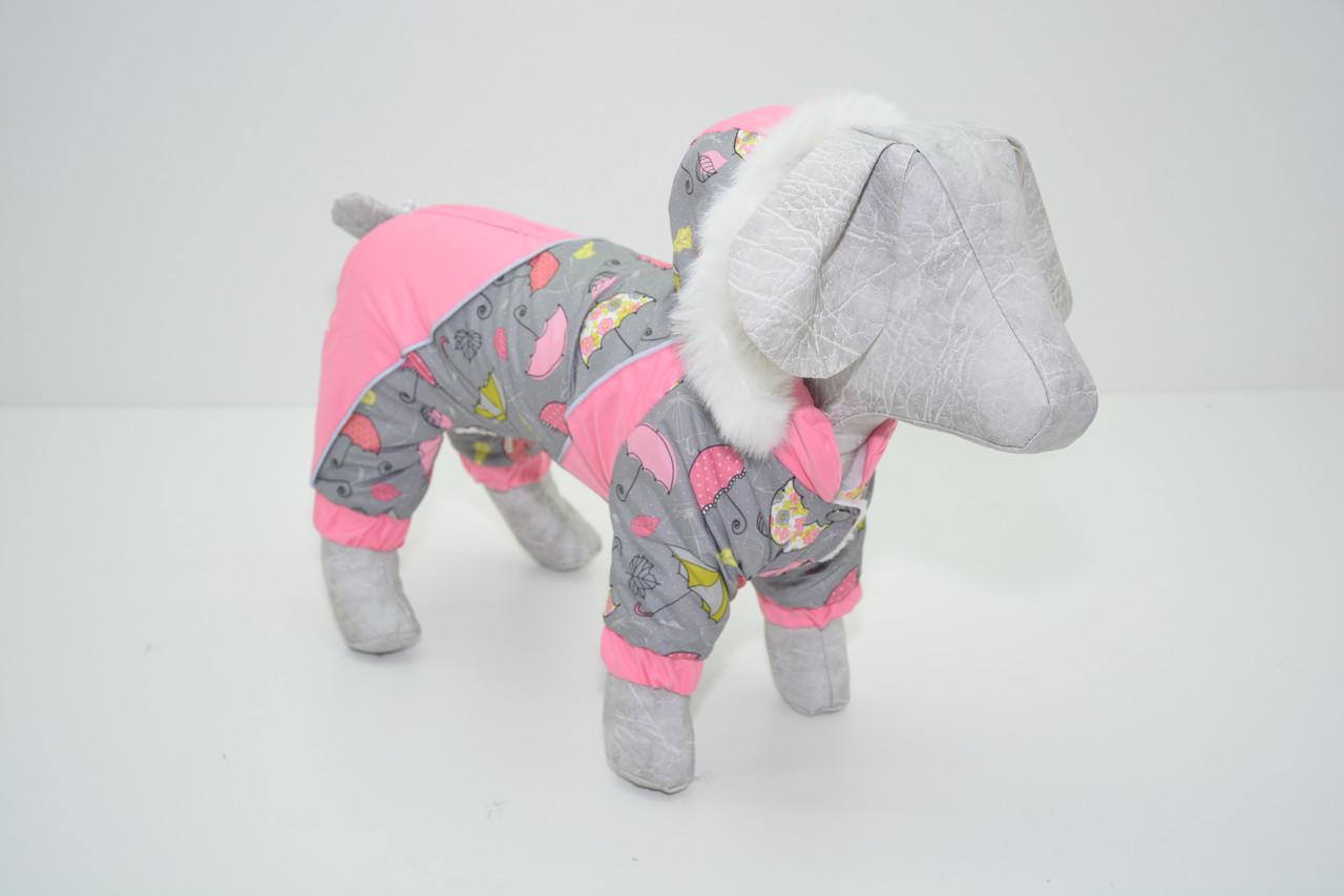 Комбинезон для собак Фантазия с капюшоном розовый