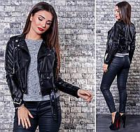 Женская черная куртка косуха эко кожа размеры S M L