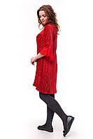 Красное велюровое платье плиссе для девочки