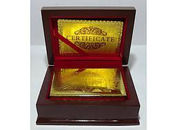 Карты (золото-пластик) в подарочном сундуке с оттиском 100 Евро.