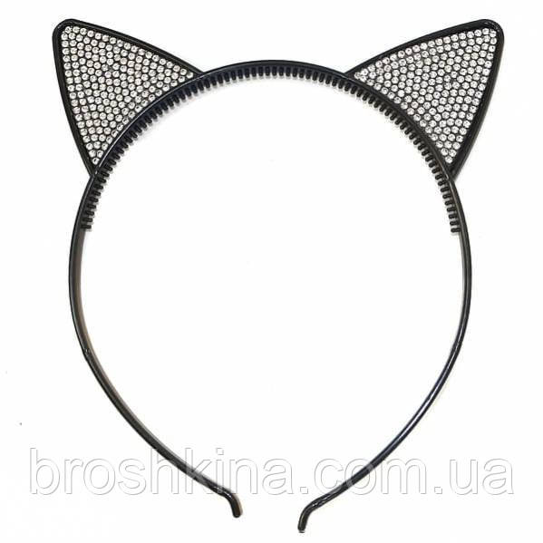 Обруч для волос пластик ушки в стразах черный 12 шт/уп