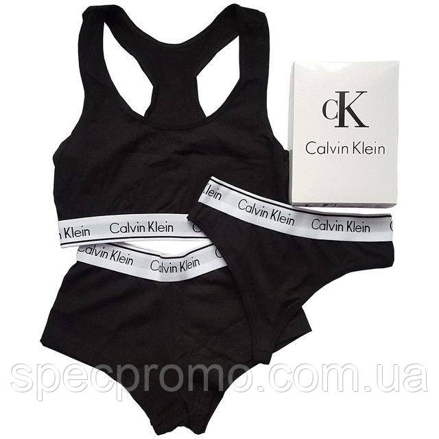 32e0543bc143 Женский комплект нижнего белья Calvin Klein (топ + стринги+шорты) (реплика)