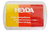 Штемпельная подушка Heyda с пигментным чернилом 3в1 7,5*5см Красно-желтые оттенки