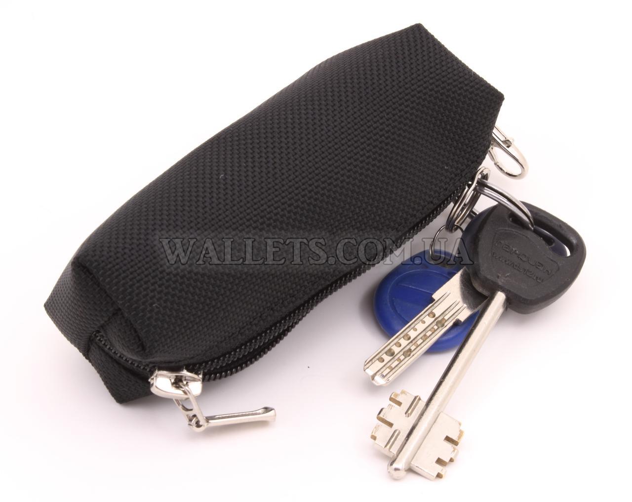 Ключниця маленька на одній блискавці, чорна, тканина (оксфорд)