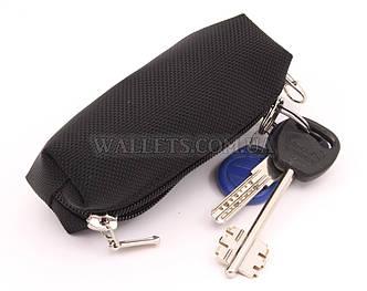 Ключница маленькая на одной молнии, черная, ткань (оксфорд)