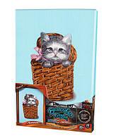 Набор для творчества DankoToys DT VGL-02-03 вышивка гладью на холсте 21*31см Котенок в корзине