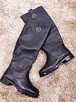 Женские кожаные сапоги в стиле P&P темно-синие, еврозима,размер 36