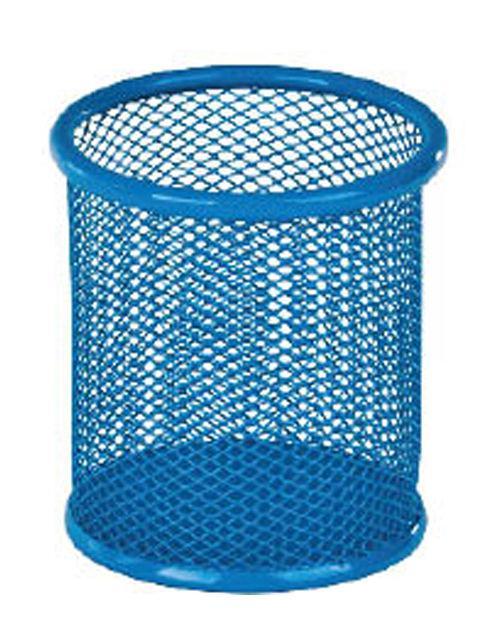 Стакан для ручек Металл Сетка №2 Голубой Д80мм