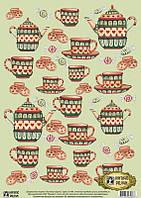 Декупажная карта-бумага 29,5*42см Vintage Design Зеленый сервиз Е-086