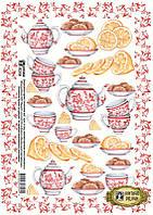 Декупажная карта-бумага 29,5*42см Vintage Design Чай с лимоном Е-094