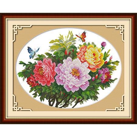 Набор для вышивания Идейка 57*45см Бабочки и пионы H223