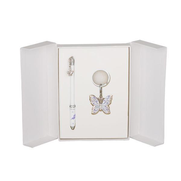 Ручки в наборе Langres Butterfly 1шт+брелок белый LS.122007-12