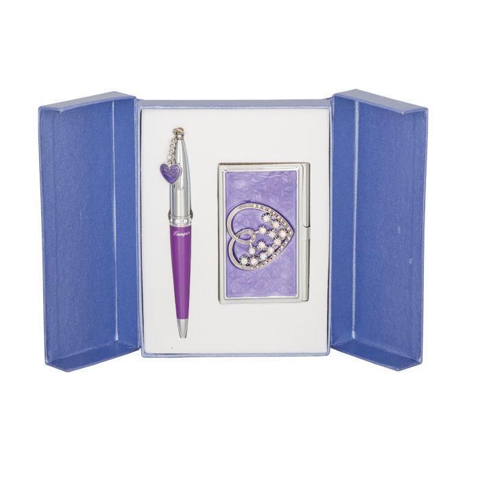 Ручки в наборе Langres Crystal Heart 1шт+визитница фиолетовый LS.122008-07