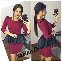 2d2676e5b3f Трикотажное платье с кожаной баской и рукавом 3 4 tez703556