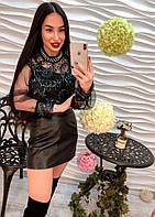 Стильная женская блузка декорирована аппликацией  и жемчужинами , фото 1