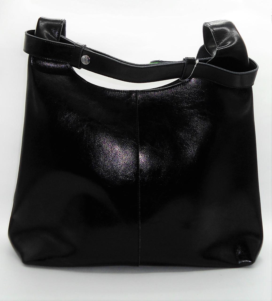 d6a1de2da3db Эффектная женская из натуральной кожи черного цвета на плечо FDG-352592 -  Интернет- магазин