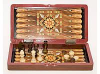 Шахматы 3 в 1 (шахматы, шашки, нарды), дерево 29,5 Х 29,5 см.
