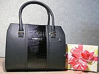 Женская сумка каркасная деловая из эко кожи черная