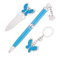 Ручки в наборе Langres Fly 1шт + брелок и закладка для книг, синий LS.132001-02