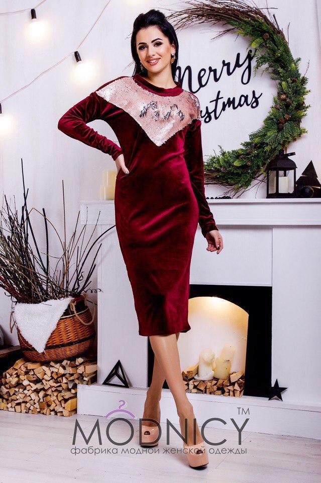 7d5f636c748 Платье миди на флисе с вставками в пайетках tez5303745 - «Anna Tézor» -  интернет