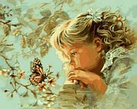 Картина раскраска по номерам на холсте 40*50см Babylon VP384 Наблюдая за бабочкой