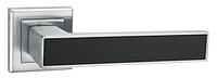 Дверні ручки LINDE A-2015 MC/BLACK - матовий хром/чорна вставка