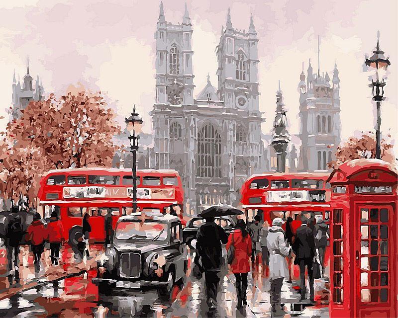 Картина раскраска по номерам на холсте 40*50см Babylon VP441new Дождливый Лондон