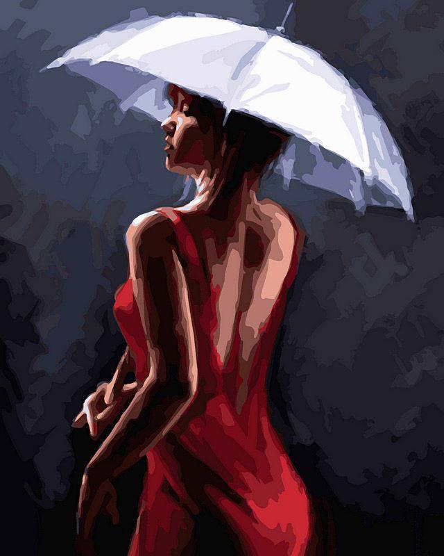 Картина раскраска по номерам на холсте 40*50см Babylon VP450 Грация под дождем