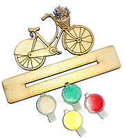Заготовка для декорирования Атлас Велосипед (фанера) + подставка + 4 краски 13,3х6,5см Н-0009