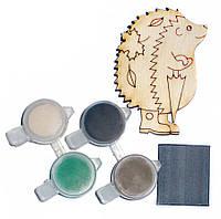 Заготовка для декорирования Атлас Ежик (фанера) + 4 краски + магнит 5х6,5см Н-0017