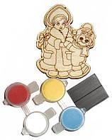 Заготовка для декорирования Атлас Новогоднее украшение Снегурочка (фанера) + 4 краски + магнит, 5х7см Н-0003