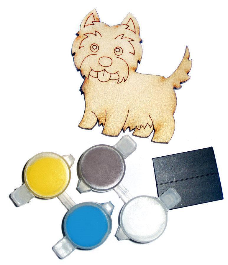 Заготовка для декорирования Атлас Песик (фанера) + 4 краски + магнит 6х6см Н-0014 - Офис-Престиж в Одессе