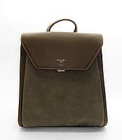 Модный женский рюкзак DAVID DJONES из искусственной кожи цвета хаки DОC-044360, фото 1