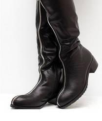 Женские зимние сапоги на низком каблуке