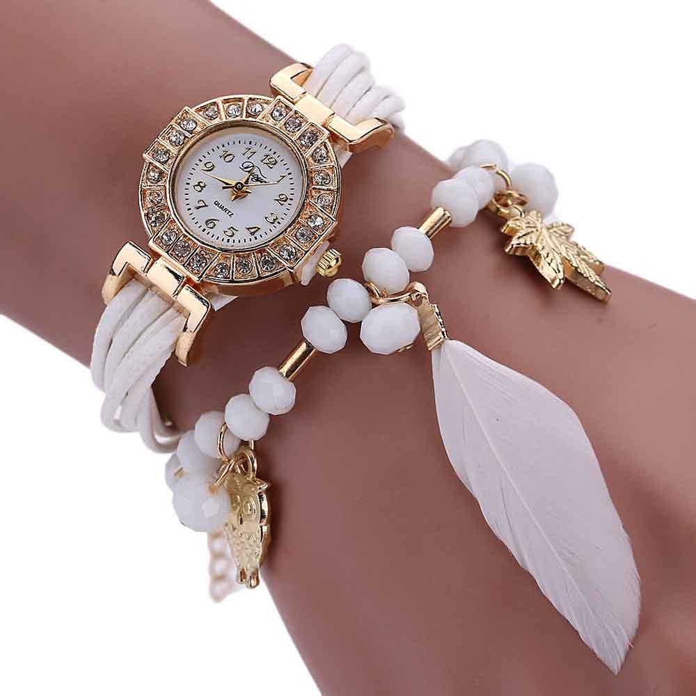 Женские часы браслет с белым ремешком
