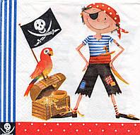 Салфетка для декупажа Пират и попугай, 33х33 см