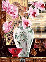 Картина раскраска по номерам на холсте 30*40см Babylon VK011 Восточные орхидеи