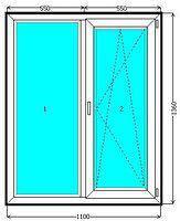 Металлопластиковое двухстворчатое окно EuroLine купить недорого.
