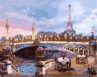 Картина раскраска по номерам на холсте 40*50см Babylon VP519 Романтика вечернего Парижа