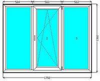 Металлопластиковое трехстворчатое окно EuroLine.
