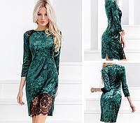 Велюровое изумрудное платье