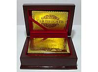 Карты (золото-пластик) в подарочном сундуке с оттиском 100 Евро., фото 1