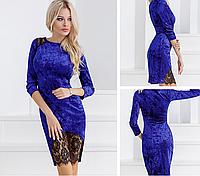 Велюровое синее платье